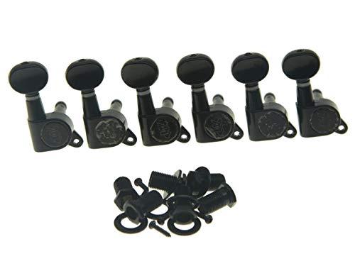 Wilkinson Mini Oval Button 6 Inline Black E-Z-LOK Post Guitar Tuners EZ Post Guitar Tuning Keys Pegs Machine Heads