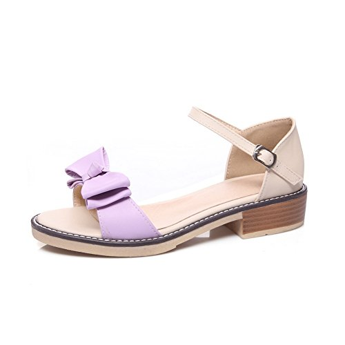 AdeeSu Womens Flats-Shoes Peep-Toe Buckle Ankle-Wrap Low-Heels Cold Lining Not_Water_Resistant Fashion Round-Toe Cushioning Urethane Flats Shoes SLC03535 Purple Z7dBV