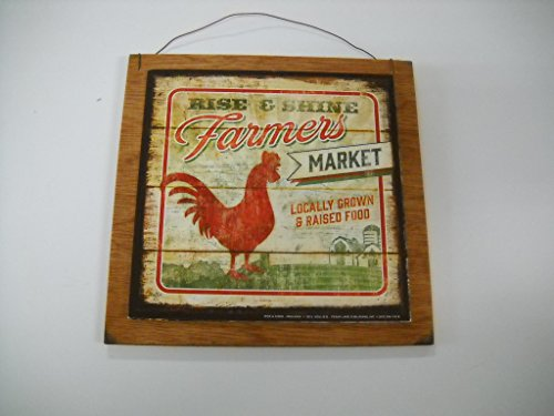 Rise And Shine Farmers Market Rooster Country Kitchen Wooden Wall Art Sign Farm Decor