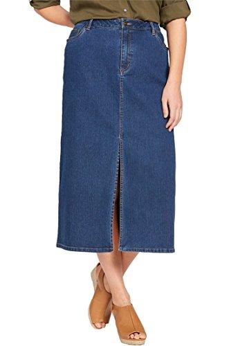 Back Slit Denim Skirt - Women's Plus Size Front Slit Stretch Jean Skirt Medium Stonewash,12 W