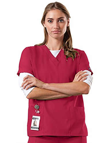 Cherokee Workwear Women's 4700 V-Neck Scrub Top- Red- 5X-Large by Cherokee