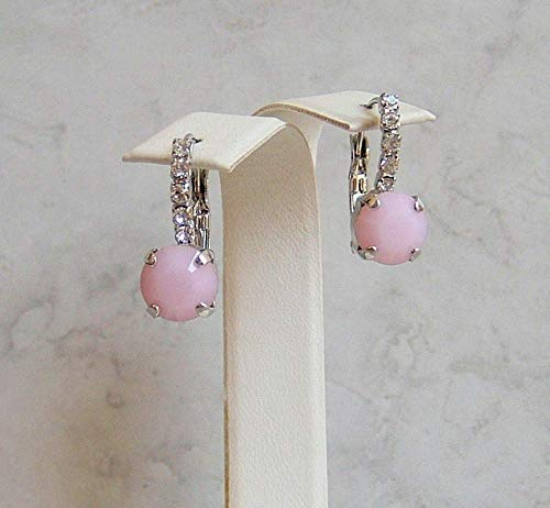(Pink 8MM Round Rose Alabaster Made with Swarovski Crystal Lined Hypoallergenic Rhodium Plated Leverback Fancy Drop Dangle Earrings Gift Idea)