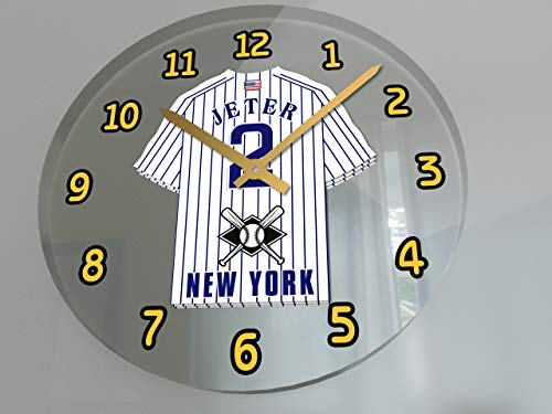 "USA Baseball Legends Wall Clocks - 12"" X 12"" X 2"" M L B Jersey Themed Legend Clock (D.Jeter 2 NYY Edition)"