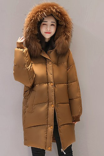 Brown Furry Winter Sevozimda Long Casual Parkas Hooded Outwear Quilted Women SI44Hn