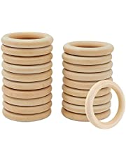 Wooden Rings, 24 PCS Unfinished Natural Solid Wooden Loops for DIY Crafts, Bracelet Necklace (Outer Diameter 1.96inch/ 50mm)