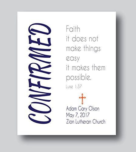 Personalized Confirmation Gifts For Boys, First Communion Gifts For Boys, 8x10 or 11x14 Print Only, First Communion Gifts For Girls, Confirmation Present