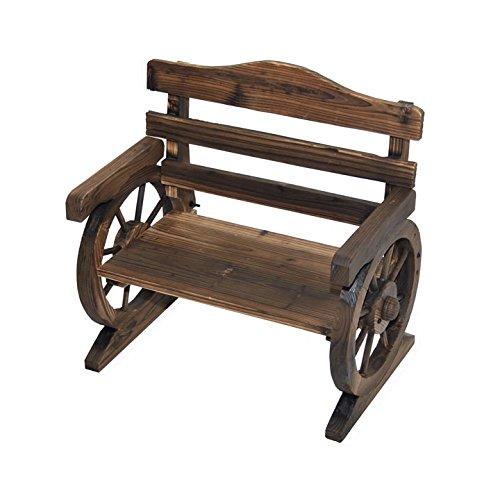 - Rustic Wooden Wagon Wheel Design Junior Outdoor Bench/Loveseat Chair Product SKU: PF06110