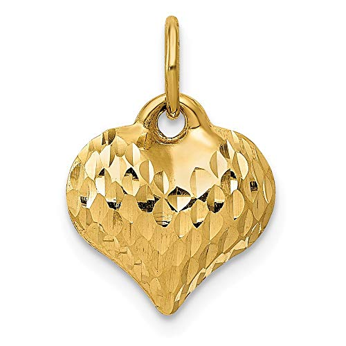 JewelrySuperMart Collection 14k Gold Hollow Diamond-Cut Small Puffed Heart Pendant Charm - (Yellow Gold, 0.50 Inch ()