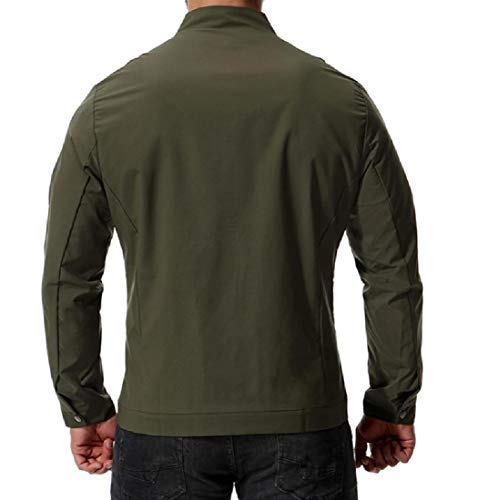 with Size Color Army Coat Zips up Pure Plus Collar Jacket Mens Green AngelSpace Stand SxBgvgw