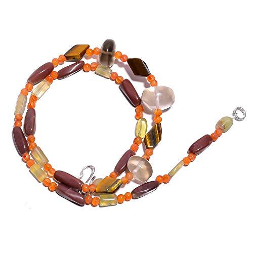 kanta incorporation Natural Smoky Quartz Red Jasper Carnelian Gemstone Beads Necklace 17
