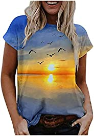 Womens Short Sleeve Crewneck T Shirts,Casual Tops Vintage Graphic T-Shirt Fashion Tees Plus Size Summer Tunic