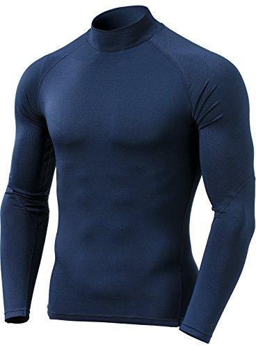 (テスラ) TESLA メンズ 冬用起毛 長袖 ハイネック スポーツシャツ[吸湿発熱?防寒?保温]コンプレッションウェア パワーストレッチ アンダーウェア