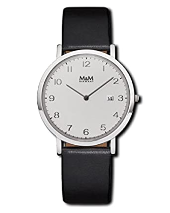 M&M Herrenuhr Lederband M11909-443 Flat Line 179