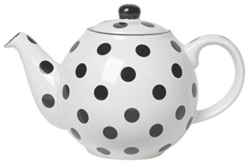 London Pottery Medium Globe Teapot, 6 Cup Capacity, White with Black Polka Dots (Black And White Teapot)