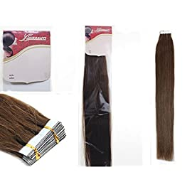 "16""18""20""22"" 24"" Tape – In Real Human Hair Extensions Straight 17 Colors 20pcs Beauty Hair Style (16inch 30g /20pcs, 04 Medium brown)"