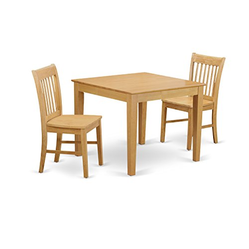 East West Furniture OXNO3-OAK-W 3-Piece Kitchen Table Set, Oak Finish