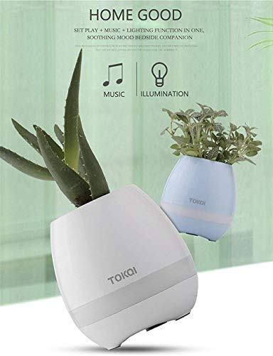 Sun-Mall Music Flower Pot Speaker, Touch Sensor Rechargeable Smart Music Flowerpot with Colorful Breathing Night Light Bluetooth Speaker for Bedroom/Office/Living Room Decor Festival Gift (White) (Pot Music)