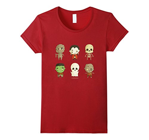 Scary Women Characters (Womens Funny Scary Emoji Characters Halloween T-Shirt Medium Cranberry)