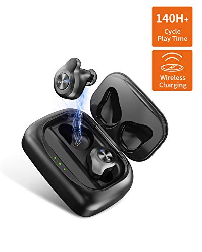 AIDEAZ Bluetooth 5.0 Wireless Earbuds TWS Stereo Headphones, w 2200mAh Power Bank, in-Ear Built-in Mic Headset 3D Hi-Fi Sound, Auto Pairing, IPX6 Waterproof, Total 140 Hours Wireless Charging Case