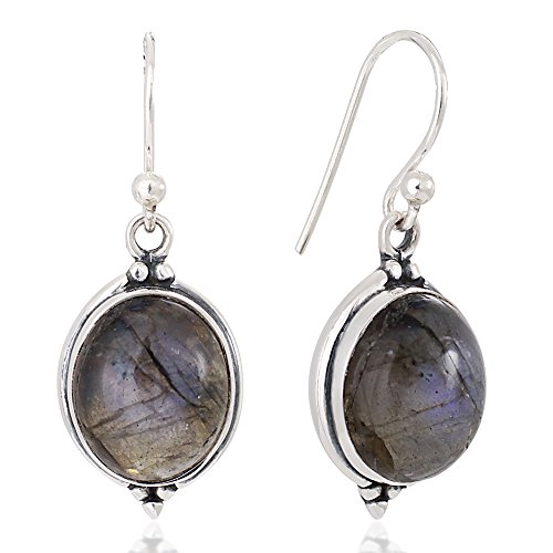- 925 Oxidized Sterling Silver Labradorite Gemstone Oval Shaped Vintage Dangle Hook Earrings 1.3
