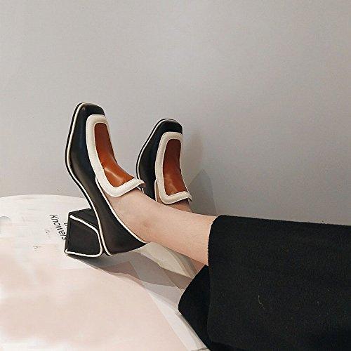 Solo Tacón Zapatos de Baja Literaria UN Femeninos Zapatos Simple Cuadrado VSR de de Bajo Primavera Boca wqdAx7BE