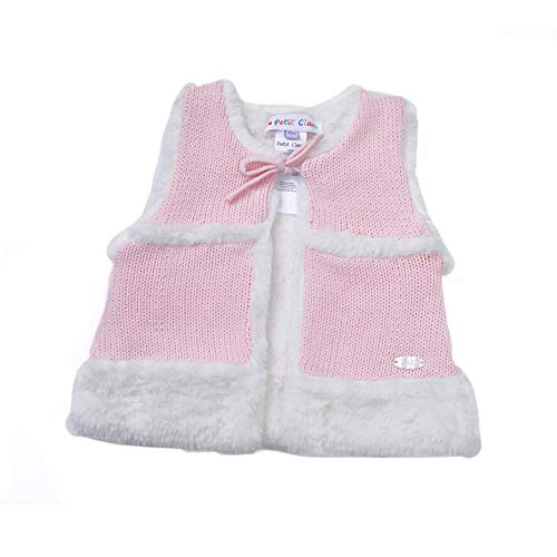 Petit Clan Baby Girl Vest Linning Fur Angora, Pink with White, Soft Warm for Winter