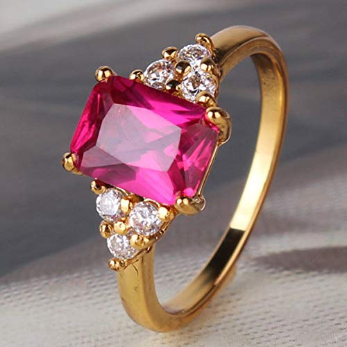 - FidgetGear Cool Ruby Style 24k Yellow Gold Filled Lady Fashion Radiant Ruby Ring Sz5-Sz9 size9