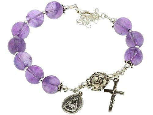 Sterling Silver 7 Sorrows Rosary, Amethyst 10mm, Crucifix & Lady of Sorrows Medal, 7.3