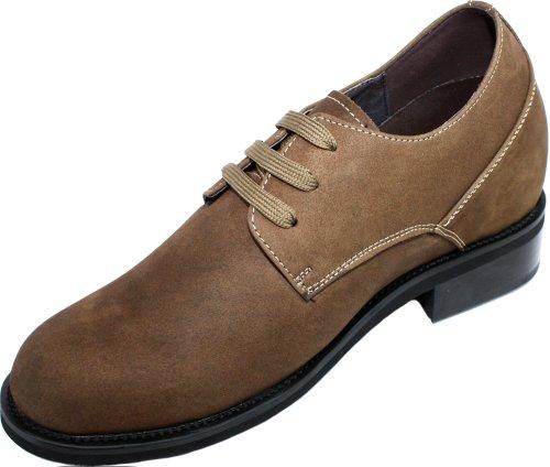 Calden–k291022–9,1cm Grande Taille–Hauteur Augmenter Ascenseur shoes-brown en daim à lacets