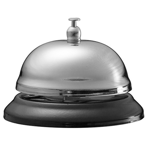 Plated Nickel Bell Call - Officemate Call Bell, Black Base with Nickel Top (93671)
