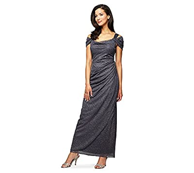 Alex Evenings Women's Long Cold Shoulder Dress With Side Ruched Skirt