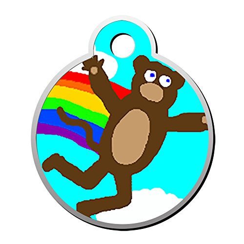 (XInhaoLEI Rainbow Teddy Bear Dog Tags Cat Tags Personalized Double Sided Stainless Steel Round Pet ID Tag)