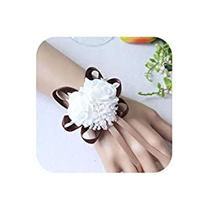 Handmade Foam White Rose Wrist Flowers forWrist Corsage Bracelet Band Wedding Accessories Bridal Wrist Flower,deep-Coffee 29