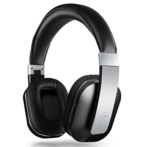 iDeaUSA Bluetooth 4.0 Kopfhörer, Drahtloser Stereo Kopfhörer mit Apt-X Technologie und eingebautem Mikrofon für Apple iOS/Android Geräte, Tablets, Notebooks, TV – Schwarz/Silber