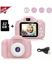 Cámara para niños, cámara de Video / Video Selfie Dual de 1080p HD, Pantalla LCD de 2 Pulgadas, Viene con una Tarjeta de Memoria 32G