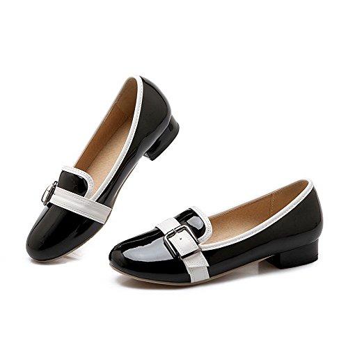 AgooLar Damen Ziehen auf Rund Zehe Niedriger Absatz Gemischte Farbe Pumps Schuhe Schwarz