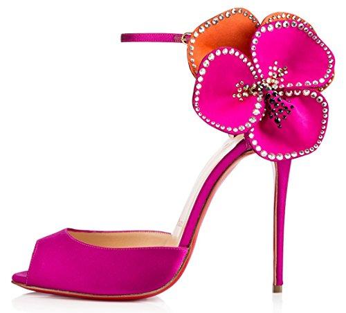 Shoes Women's Evening Wedding Stiletto Sexy Heel High Pumps Dress Party TDA Satin Purple Flower 70q4Yw