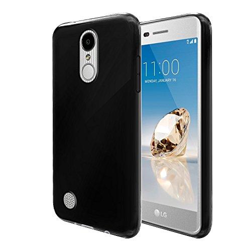 Black Silicone Protector - FINCIBO LG Aristo MS210 Case, Flexible TPU Silicone Soft Gel Skin Protector Cover Case For LG Aristo MS210 LV3 K8 2017 Phoenix 3 M150 Fortune - Black
