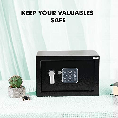 Home and Office Electronic Safe Box with Digital Keypad & Keys, Money Lock Boxes, Safety Boxes for Home Office Hotel Rooms Business Jewelry Gun Cash, Steel Alloy Drop Safe 7.85 x 12.20 x 7.85 inches
