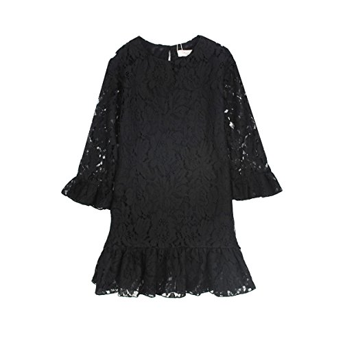 Girl Dress Lace Toddler Flounce Flower Girls Casual Dresses Sleeves (3T, (Lace Dress For Toddler Girl)