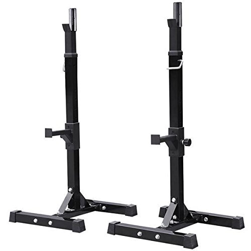 Yaheetech Pair of Adjustable Squat Rack Standard Solid Steel Squat Stands Barbell Free Press Bench Home Gym Portable Dumbbell Racks Stands 44''-70'' by Yaheetech (Image #9)