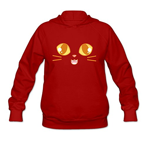 JUST Women's Happy Halloween Cute Cat Face Luvs Hooded Sweatshirt Red