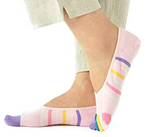 Womens [Colorful Cream] Low Cut Five Toes Socks Five Fingers Ankle Socks 1 Pairs
