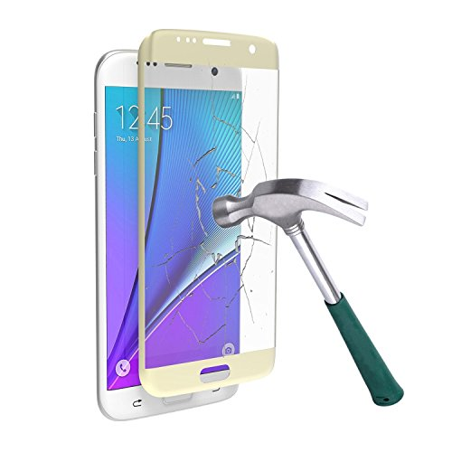 S7 Edge Screen Protector, Asstar Premium Mirror Tempered Glass Cell Phone Touch 3D Screen Protector Ultra Thin HD Clear Glass Screen Protector for Samsung Galaxy S7 Edge 5.5 inch (Gold)