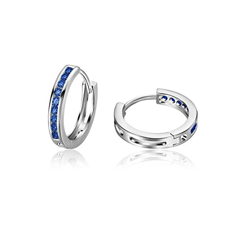 Carleen 925 Sterling Silver Channel Set Round Cut 9-stone Blue Cubic Zirconia CZ Hinged Hoop Earrings for Women Girls Diameter 1.8cm