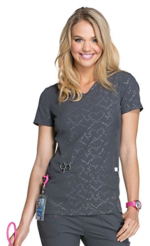 HeartSoul Break On Through Women's V-Neck Tonal Heart Solid Scrub Top Medium Beat of My Heart Pewter ()