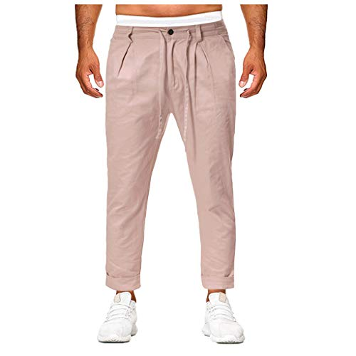 Mens Sweatpants, F_Gotal Men's Casual Plain Button Straight-Fit Sports Running Jogger Pants Trouser with Pockets Khaki