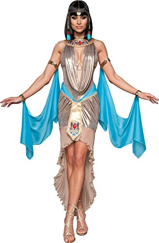 Golden Goddess Egyptian Costume - InCharacter Costumes Pharaoh's Treasure Costume, Blue/Tan/Gold, X-Small