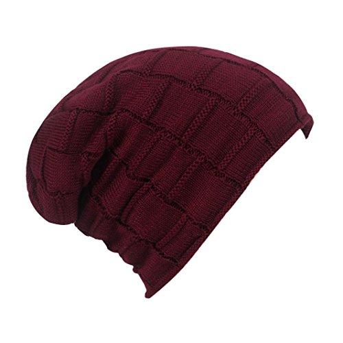 Hunputa Unisex Hat Winter, Womens Mens Cable Knitt Hat Winter Fleece Warm Thick Braided Beanie Slouchy Ski Cap (Wine Red)