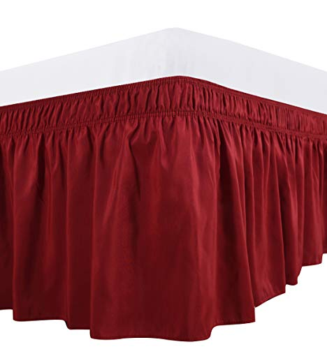 Biscaynebay Wrap Around Bed Skirt, Elastic Dust Ruffles, Easy Fit Wrinkle and Fade Resistant Solid Color Fabric, Lipstick Red, Queen, 15